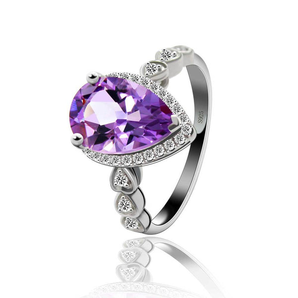 New Outstanding Natural Amethyst Ring Solid 925 Sterling Silver Dazzling Bijoux Promise Ring Christmas Gift  Party Wear