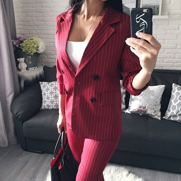 2 Piece Sets Double Breasted Stripe Blazer Jacket & Straight Pant