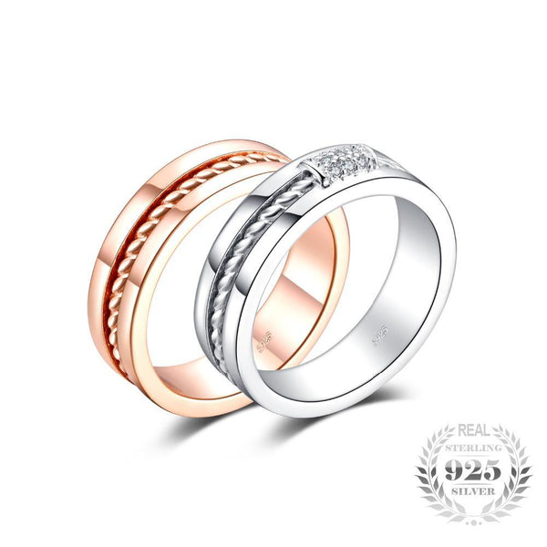 Classic Two-Tone Ring Band 925 Sterling Silver