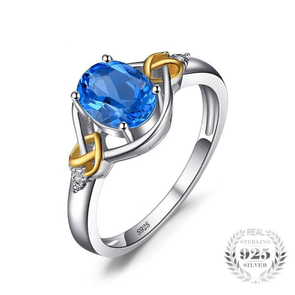 Love Heart Knot 1.5ct Natural Blue Topaz Real Diamond Accented Yellow Gold Ring