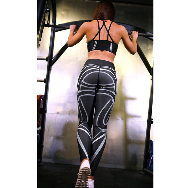 Yoga Workout Mid Waist Running Fitness Elastic Leggings