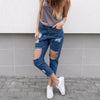 Casual hollow out blue denim jeans