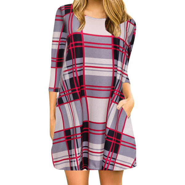 Plaid Print Scoop Neck Casual Swing Tunic Mini Dress With Pockets