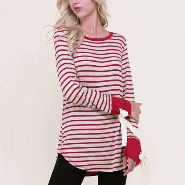 Messic Casual Bow Tied Striped T Shirt Women
