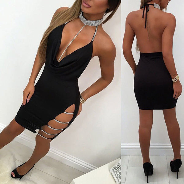 Bodycon Mini Dress Deep V Neck Halter Backless Choker Slit Sequin