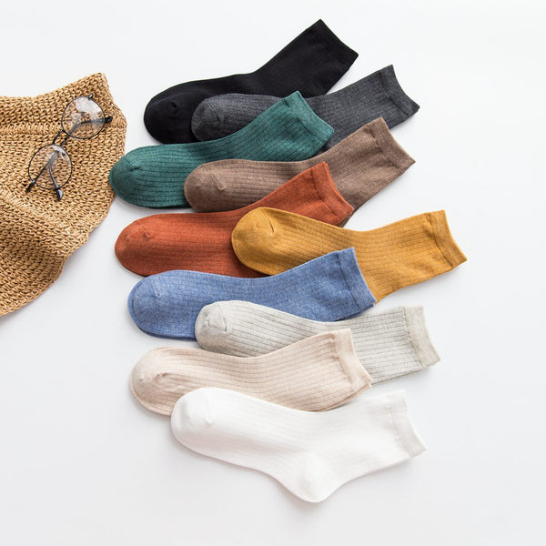 Cotton female tube socks pure color
