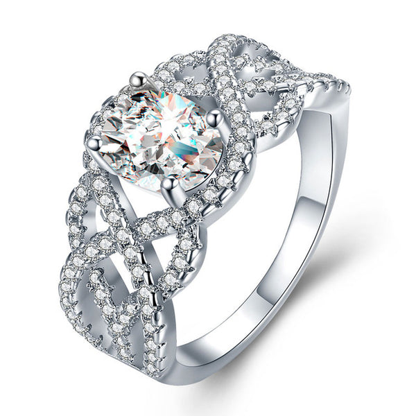White Gold Engagement Wedding AAA Zircon Ring