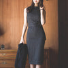 Elegent Striped Office Lady Work Dress