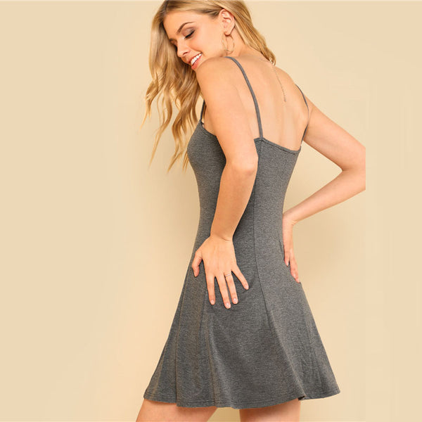 Grey Casual Mini Dress for Summer