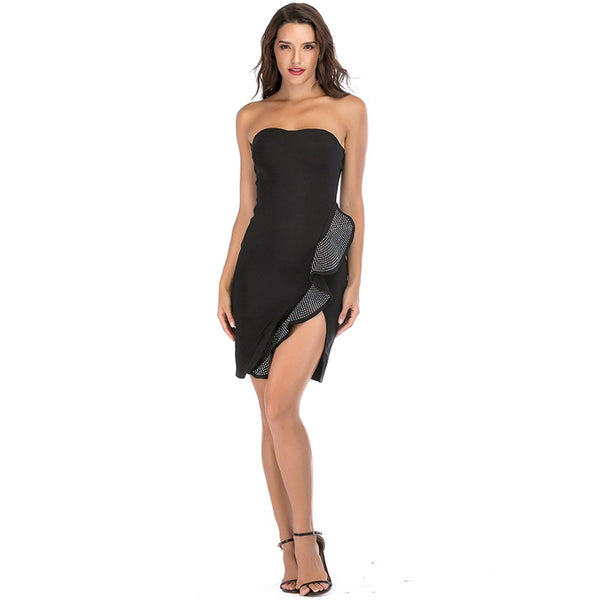 Strapless Ruffle Bodycon Bandage Party Dress