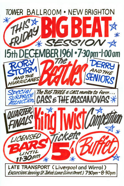 The Beatles 'King Twist Competition' Concert Poster 1961