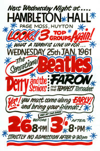 The Beatles Hambleton Hall Huyton Concert Poster 1961