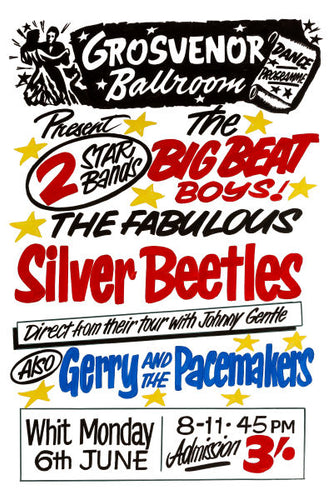 The Silver Beatles Grosvenor Ballroom Gig Poster 1960