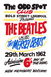 The Beatles at The Odd Spot Liverpool Concert Poster 1962
