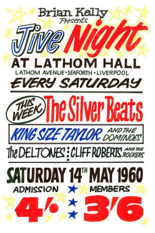 The Beatles at Lathom Hall Seaforth Concert Poster 1962