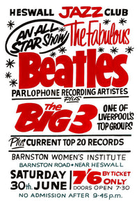 The Beatles Barnston Women's Institute Concert Poster 1962