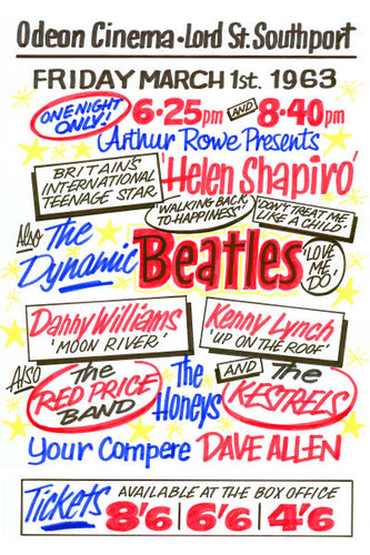 The Beatles Odeon Cinema Southport Concert Poster 1963
