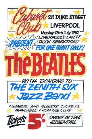 The Beatles at The Cabaret Club Concert Poster 1962