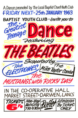 The Beatles The Co-Operative Hall Darwin Concert Poster 1963