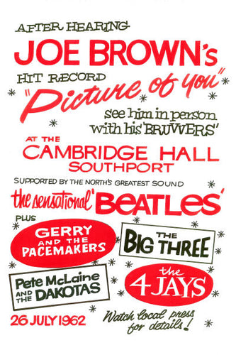 The Beatles Cambridge Hall Concert Poster 1962