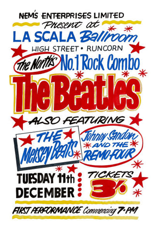 The Beatles Live In Runcorn Gig Poster 1962