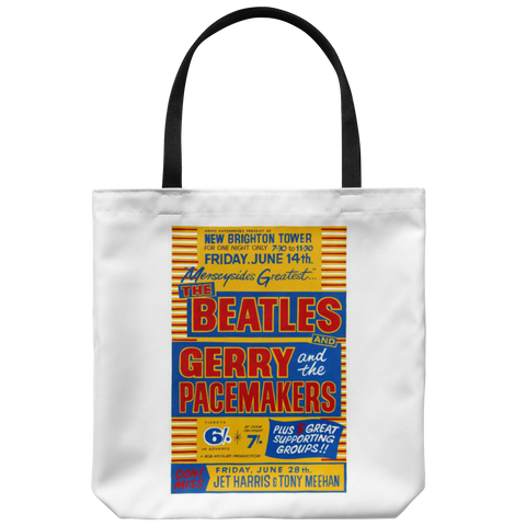 The Beatles Tote Bag Yellow Concert Poster 1963