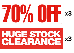3x 'Up to 70% Off' + 3x 'Huge Stock Clearance' Banners