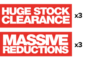 3x 'Huge Stock Clearance' + 3x 'Massive Reductions' Banners
