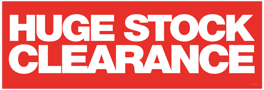 'Huge Stock Clearance' Banner