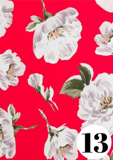 Red camellia fabric print by ColieCo