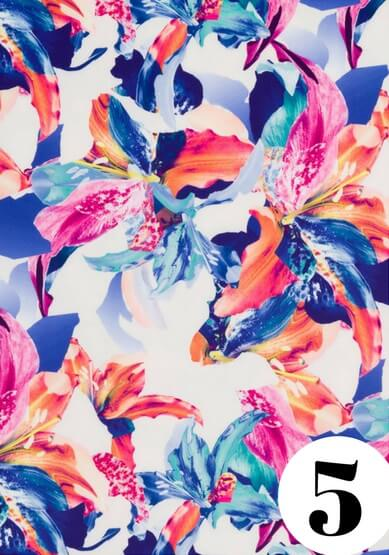 Vibrant lily fabric print by ColieCo