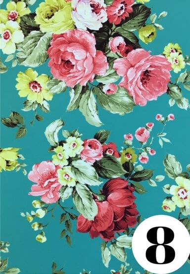 Teal floral fabric print by ColieCo