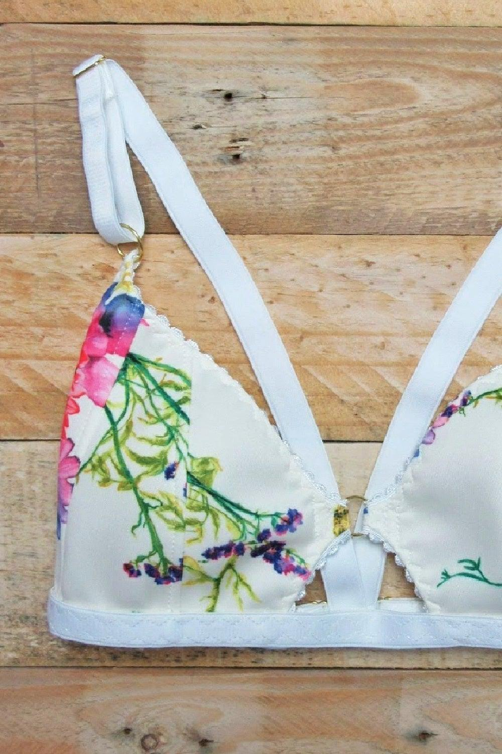 Cherry soft cup bra in brilliant berry fabric print by ColieCo