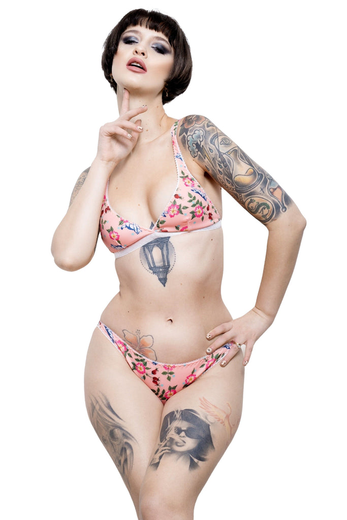 ASTER lingerie set in Rosa Canina print by ColieCo