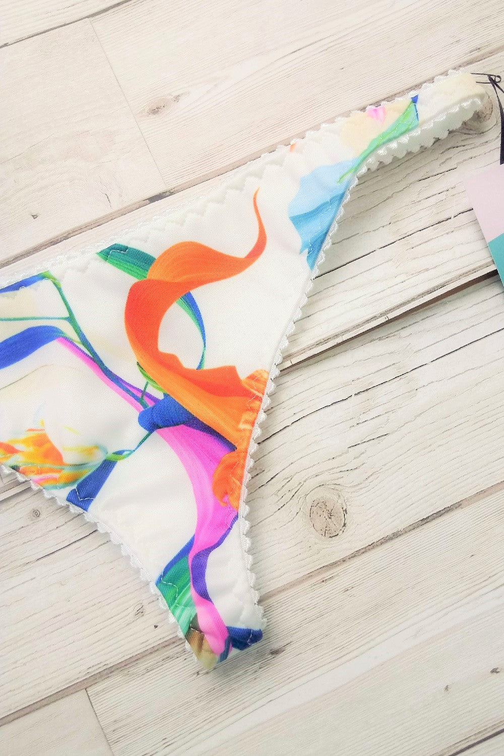 Low rise thong in summer lilies fabric print by ColieCo