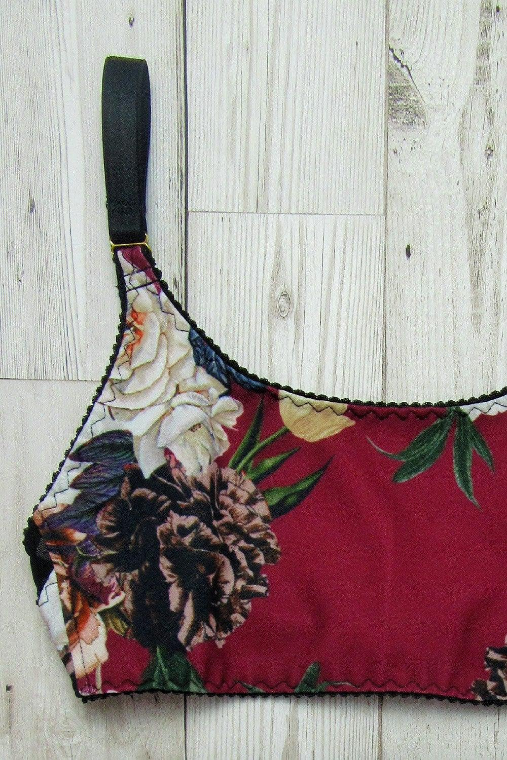 Kelly crop top bra in burgundy roses fabric print by ColieCo