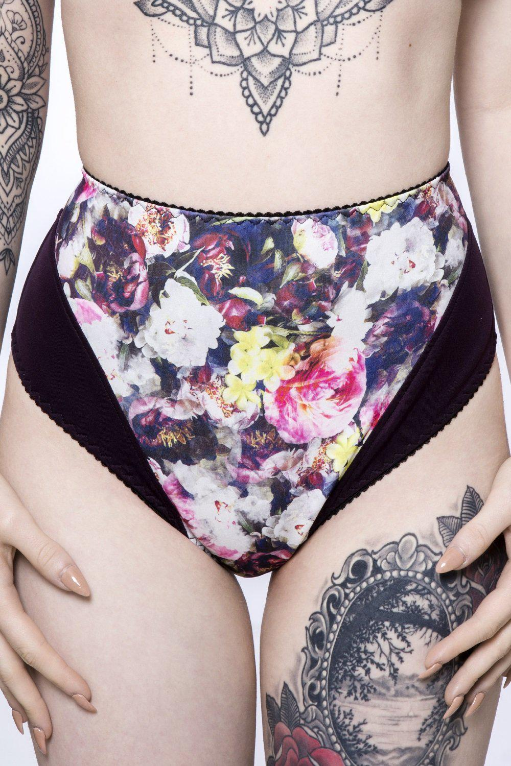 Sugarplum high waist panties in floral confetti fabric print by ColieCo
