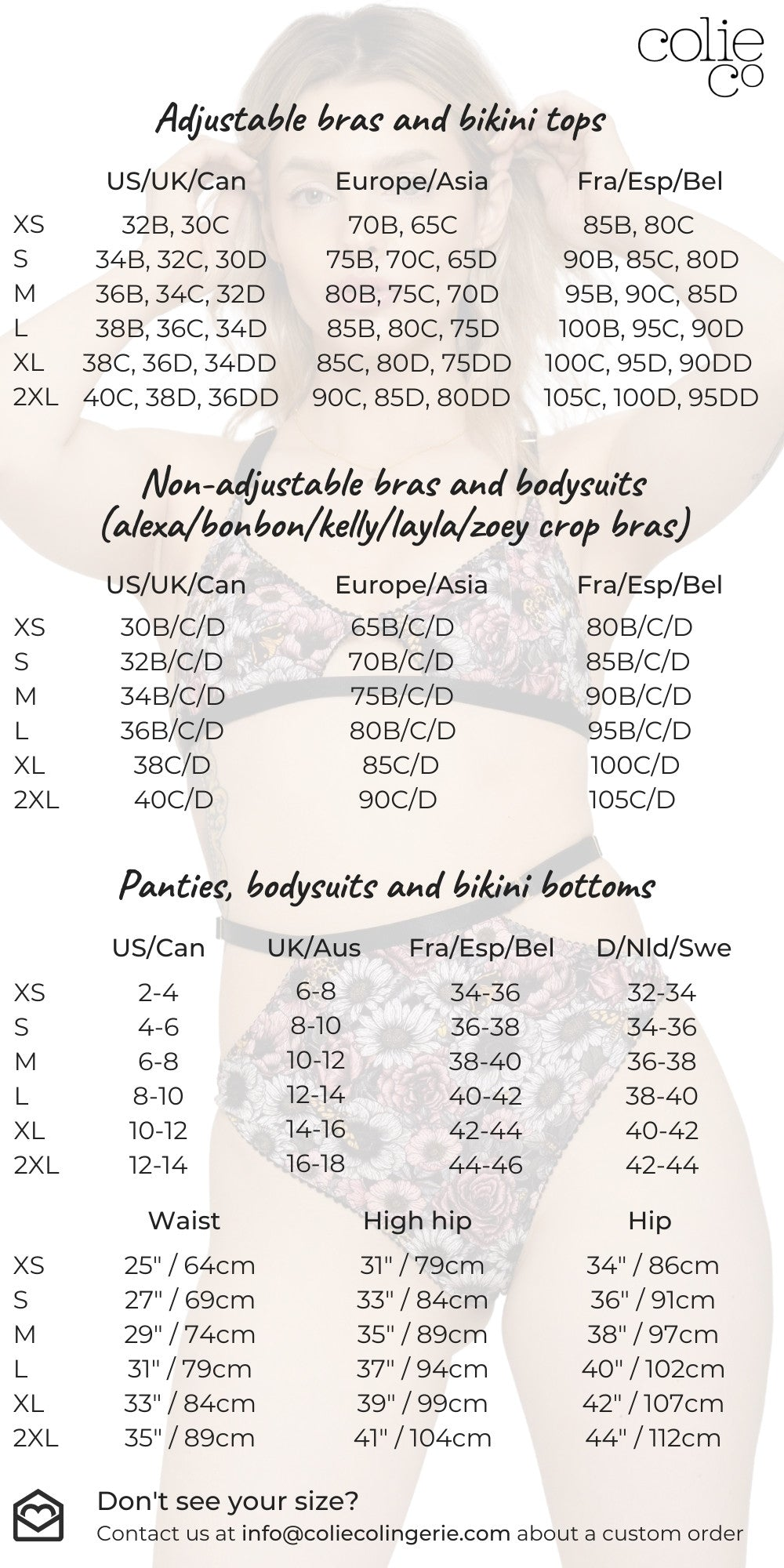 ColieCo Lingerie sizing chart
