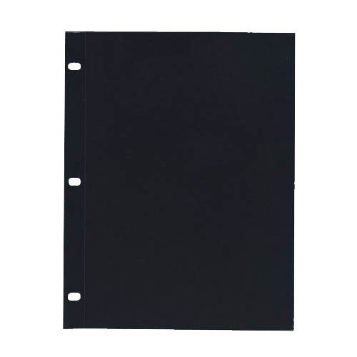 "Gemex Side-Load Sheet Protector, Archival Safe Polypropylene 24 ml, Black Inserts Included 8-1/2""x11"" 50 per Box, Clear"