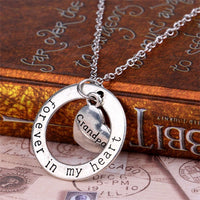 Mom Forever In My Heart Circle Pendant Necklace