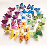 12Pc 3D Butterflies Adhesive Stickers Home Decor Wall Poster Art