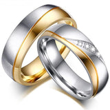 Romantic Engagement Wedding Rings For Lovers - Gold Color Stainless Steel Couple Rings
