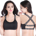 Letter Printed Push Up Padded Yoga Sports Bra