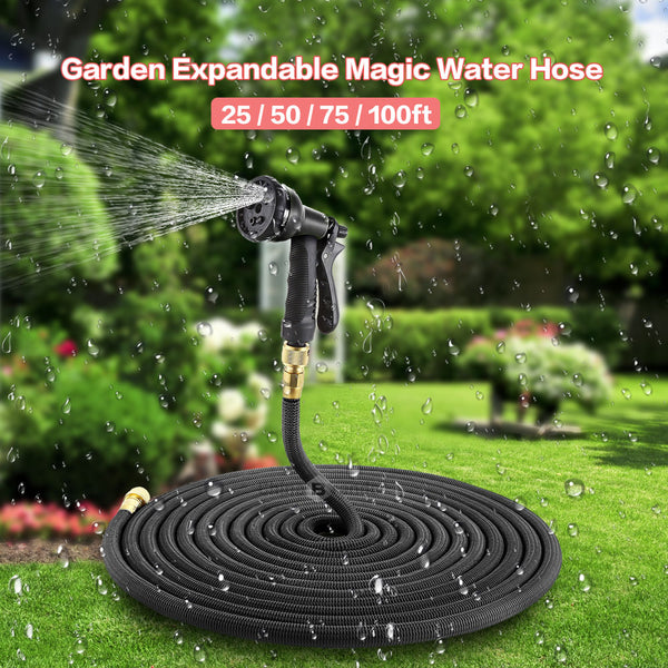 25FT-75FT Expandable Garden Hose - Strong Flexible Hose With Spray Nozzle