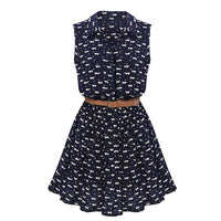 Summer Women Dress Cat Footprints Pattern With Belt