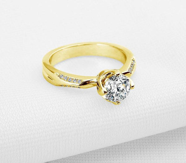 Yellow Gold Ring 10k Solid Gold Engagement Ring Fine Jewelry