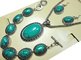 Turquoise Stone Jewelry Set (Necklace/Pendant/Earring)