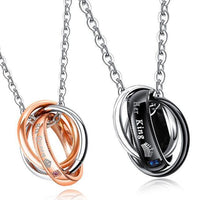 Her King & His Queen Couple Triple Circle Necklaces