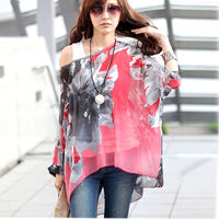 Women Batwing Sleeve Summer Chiffon Dress