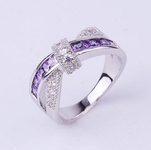 Austrian Crystal Ring Silver Plated 925 Purple Zircon For Women